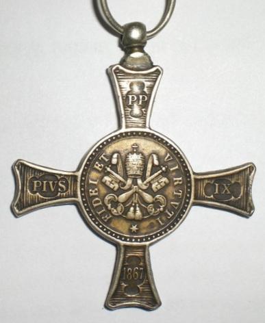 Het Mentanakruis, Pauselijke onderscheiding voor alle deelnemers aan de slag bij Mentana in 1867.